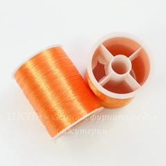 Нить металлизированная для вышивки бисером, 0,1 мм, цвет - оранжевый, примерно 55 м