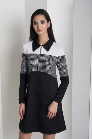 Бренда. Комбинированное молодежное платье. Дизайн шахматки