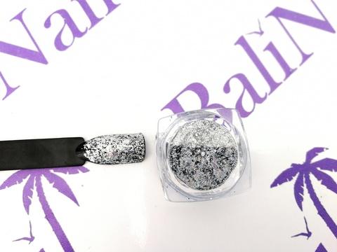 Фольга для дизайна ногтей голографическая (серебро)