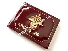 Обложка из натуральной гладкой кожи для удостоверения сотрудника МВД