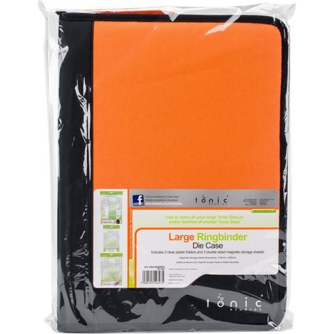 Кейс с магнитными пластинами на кольцах для хранения ножей -  Tonic Studios Large Ring Binder Die Case Black & Orange
