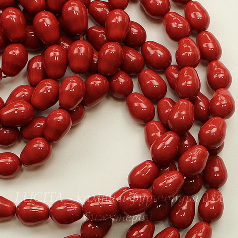 5821 Хрустальный жемчуг Сваровски Crystal Red Coral грушевидный 11х8 мм