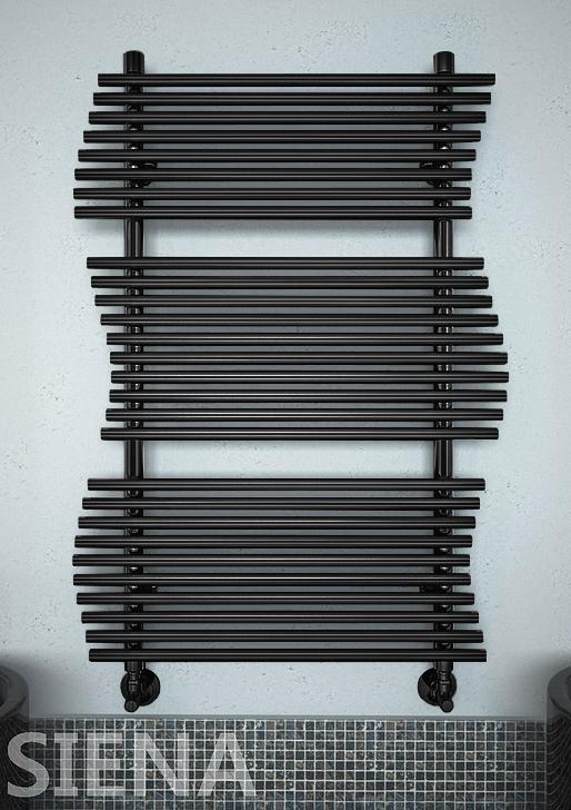 Siena  - водяной  дизайн  полотенцесушитель черного цвета.