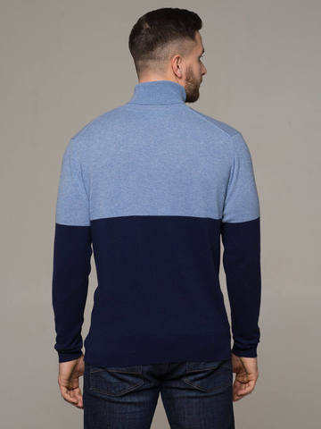 Male jumper made of 100% cashmere, combination of blue and dark blue - фото 2