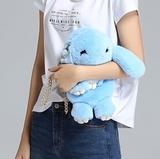 Сумка-рюкзак кролик (зайка) из натурального меха (Голубой)
