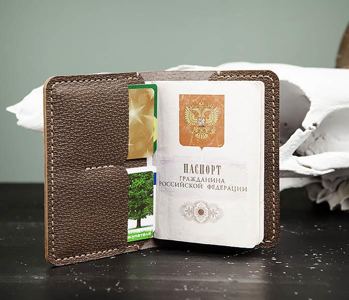 WB175 Обложка для паспорта и карточек ручной работы фото 01