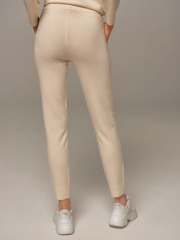 Женские брюки молочного цвета из шерсти и кашемира - фото 3