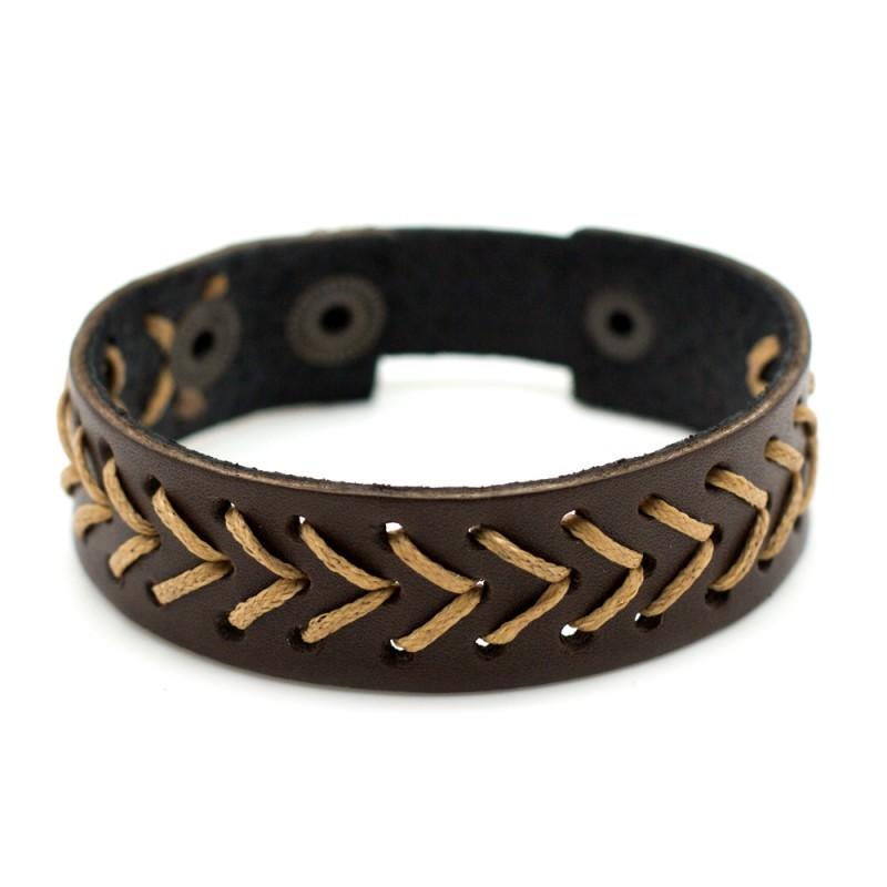 Кожаный коричневый браслет TRONIN N-58