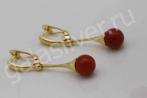 Серьги с красным кораллом из серебра 925