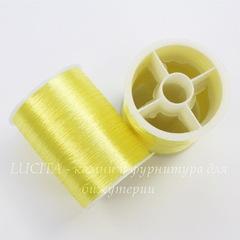 Нить металлизированная для вышивки бисером, 0,1 мм, цвет - желтый, примерно 55 м