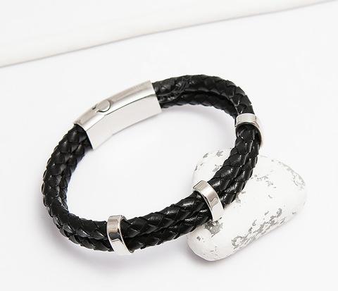 Стильный мужской браслет из кожаных шнуров со сталью (20 см)