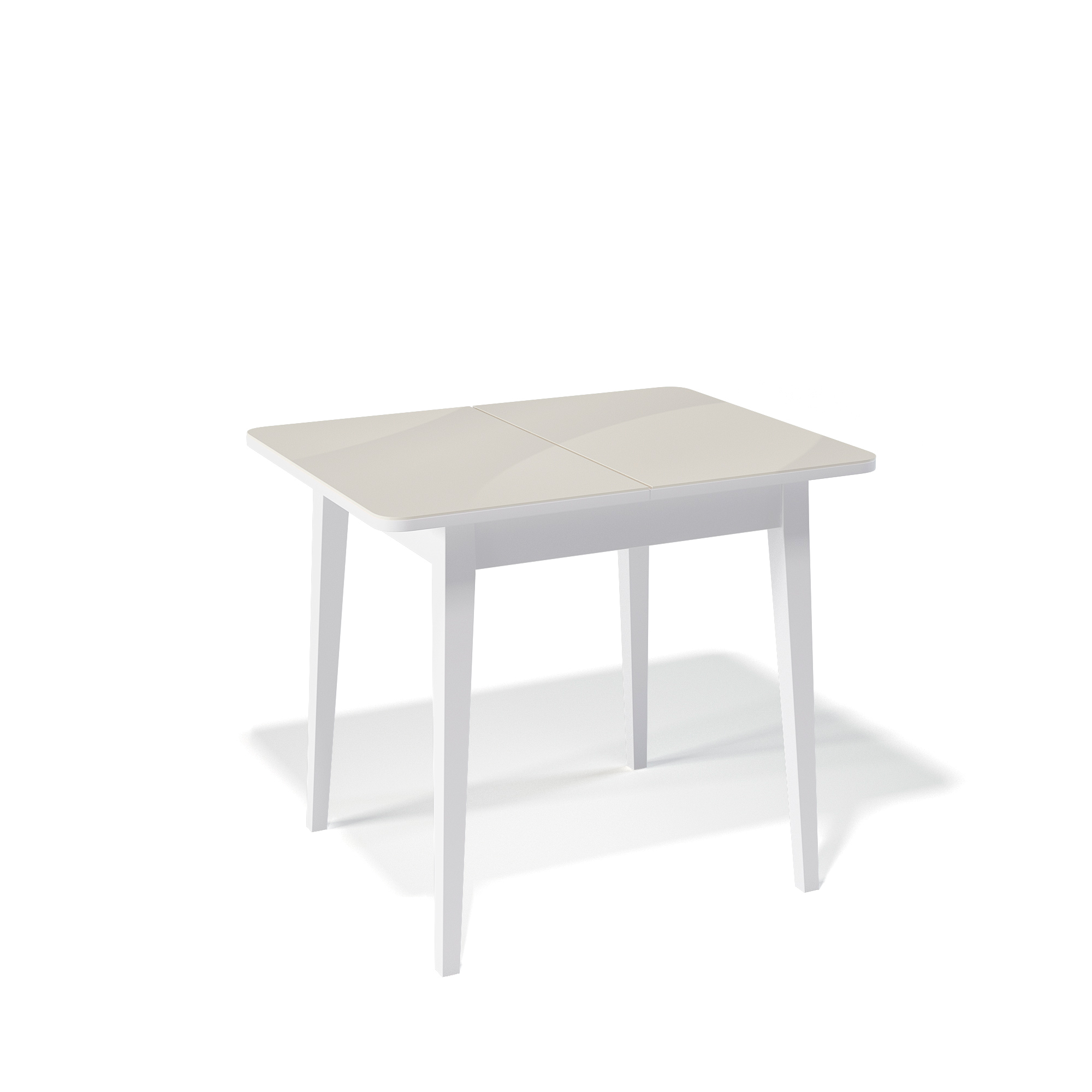 Стол Kenner 900M обеденный, раздвижной, стеклянный, белый - кремовый глянцевый
