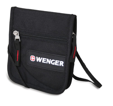 Кошелёк на шею WENGER, чёрный, полиэстер 600D, 14х2х16 см