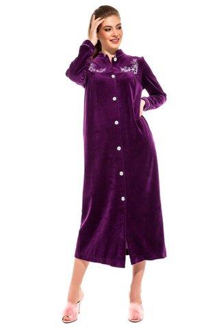 Женский велюровый халат  на пуговицах 391 фиолетовый