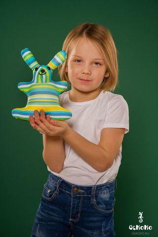 Подушка-игрушка антистресс «Зая Полосатый зеленый» 2