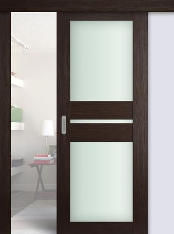 Дверь раздвижная Profil Doors №70Х, стекло матовое, цвет венге мелинга, остекленная
