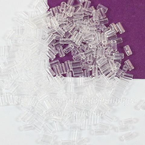 0001 Бисер японский TOHO Стеклярус (Bugle) #1, прозрачный