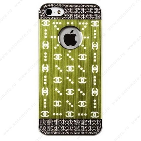 Накладка CHANEL металлическая для iPhone SE/ 5s/ 5C/ 5 серебро зеленая