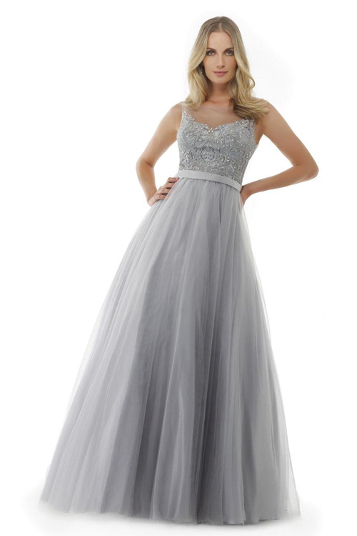 Maria 1540 Платье в пол, лиф украшен камнями, юбка длинная и пышная,цвет:нежно серый