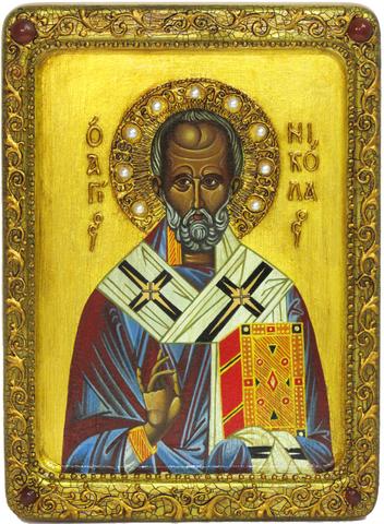 Живописная инкрустированная икона Святитель Николай, архиепископ Мир Ликийский (Мирликийский) чудотворец 29х21см на кипарисе