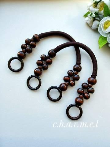 Ручки для сумки  вощеный шнур,дерево (2 шт), 46 см, цвет коричневый