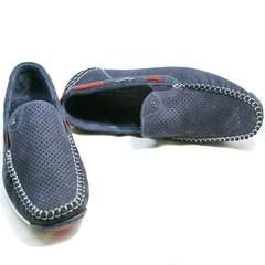 Смарт кэжуал туфли кожаные мужские Faber 142213-7 Navy Blue.
