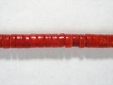 Бусина из коралла красного, облагороженного, фигурная, 2x4 мм (рондель, гладкая)