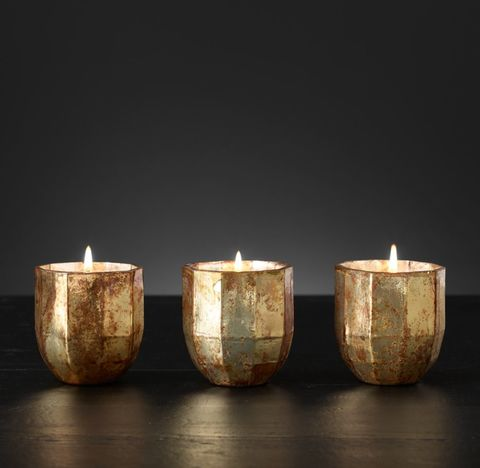 Mercury Glass Luxury Candles Small (Set of 3) - Gold/Moroccan Cedré