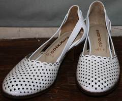 Босоножки кожаные женские Evromoda 101-6 White.