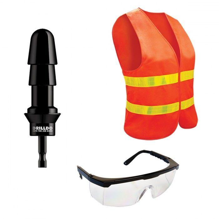 Секс-машины: Комплект для секс-дрели DRILLDO - бит-адаптер, очки, жилет