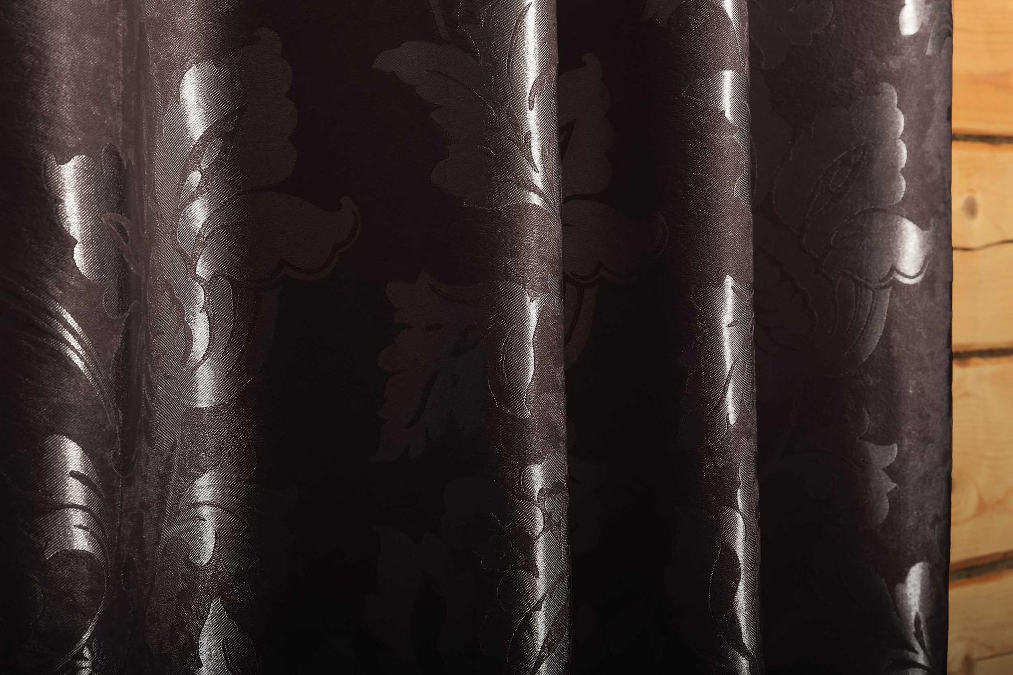 Длинные шторы. Марселла (венге).Блэкаут шенил
