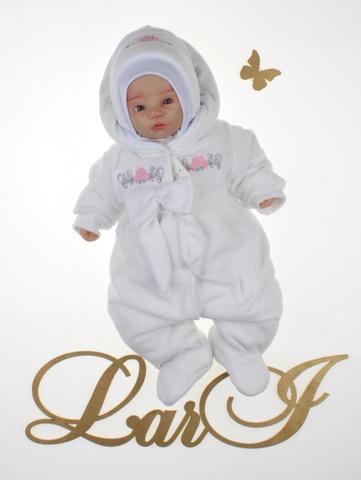 Велюровый комбинезон для новорожденных Бантик (белый)
