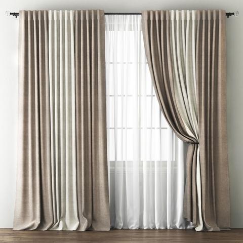 Комплект штор и покрывало Карин бежево-коричневый-кремовый