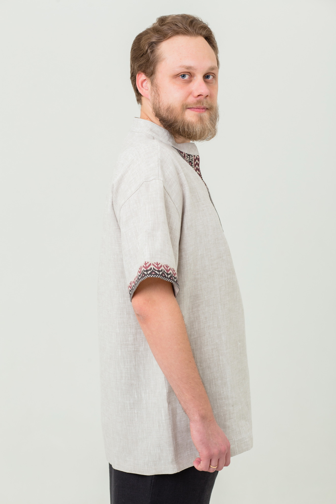 Мужская льняная рубаха Степная в русском стиле