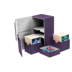 Ultimate Guard - Двойная кожаная фиолетовая коробочка с отделением для кубиков на 160 карт