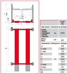 Схема. Подъёмник четырехстоечный BUTLER Logic 50L (Италия). Грузоподъёмность 5 т. Для легкового автосервиса.