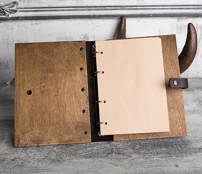 BC126-2 Блокнот ручной работы в обложке из дерева фото 06