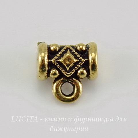 """Бейл TierraCast """"Ромб"""" 8х8х5 мм (цвет-античное золото) ()"""