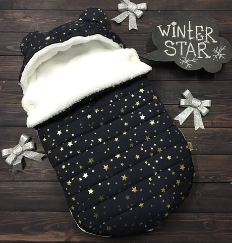 Зимний конверт кокон на выписку Звезды черный