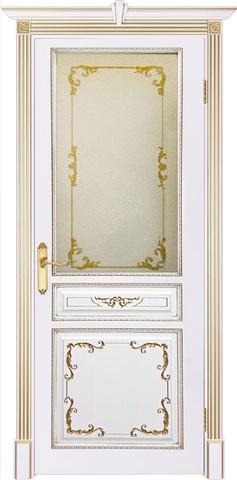 Дверь Prestigio Палагония 2/1, стекло бронза печать, цвет  белый/патина золото, остекленная