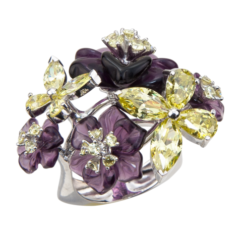 Кольцо с цветами из фиолетового кварца и фианитами