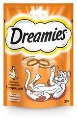 DREAMIES лакомство для кошек подушечки с паштетом со вкусом курицы