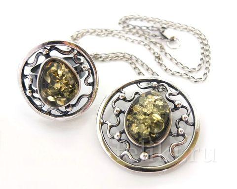 комплект серебряный (кулон и кольцо) с янтарем