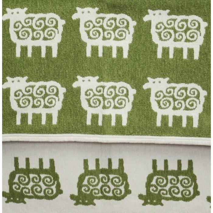 Детский плед, хлопок-ЭКО, Klippan, Барашки, 90x140 см, зеленый