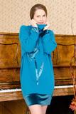 Теплое домашнее платье с бархатом Valery