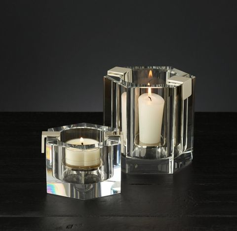 Cabanel Faceted Crystal Hexagon Candleholder Collection