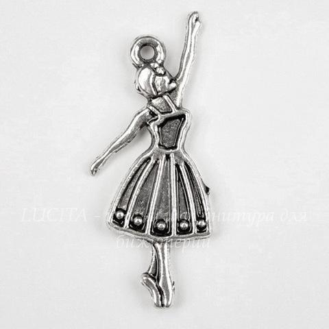"""Подвеска """"Балерина"""" (цвет - античное серебро) 32х13 мм"""