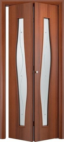 Дверь складная Верда С-10ф (2 полотна), Сатинато с фьюзингом, цвет итальянский орех, остекленная