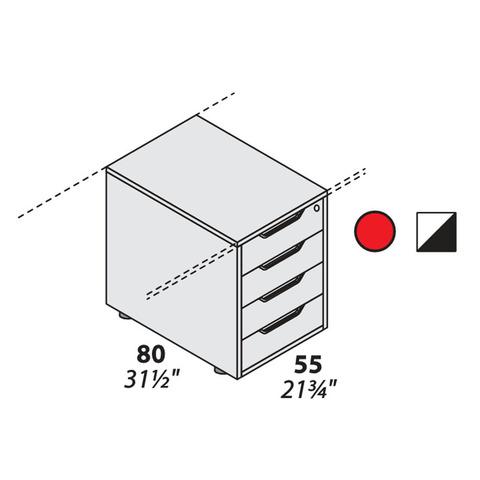Тумба опорная для столешницы 4 ящика (800 мм) LOGIC