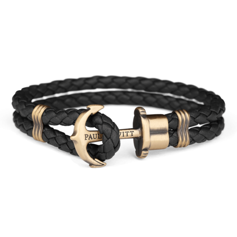 Leather Anchor Bracelet Black